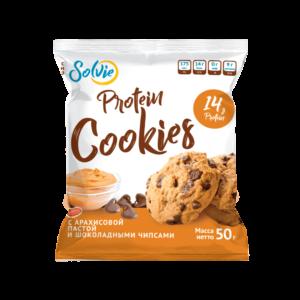 """Печенье """"Protein cookies"""" протеиновое с арахисовой пастой и шоколадными чипсами без сахара/продукт готовый кондитерский 50г*10 шт"""