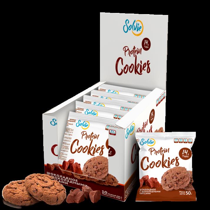 Протеиновое печенье шоколадное с шоколадными чипсами