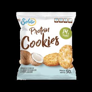 Печенье Protein cookies протеиновое кокосовое с кокосовой стружкой без сахара/продукт готовый кондитерский 50г x 10 шт