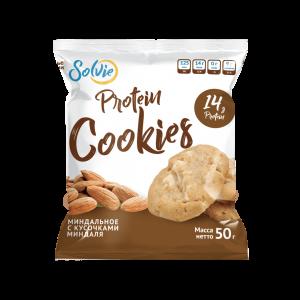 """Печенье """"Protein cookies"""" протеиновое миндальное с кусочками миндаля без сахара/ продукт готовый кондитерский 50г*10 шт"""
