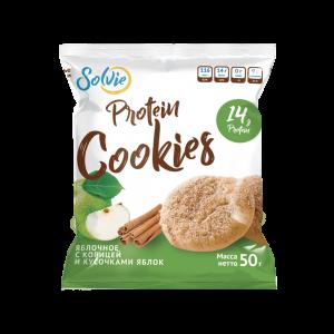 """Печенье """"Protein cookies""""  протеиновое яблочное с корицей и кусочками яблок без сахара / продукт готовый кондитерский 50г*10 шт"""