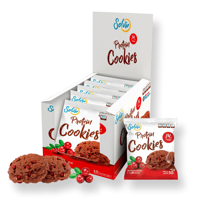 Протеиновое печенье шоколадное с клюквой