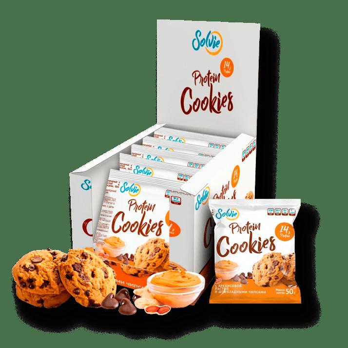 Протеиновое печенье с арахисовой пастой и шоколадными чипсами