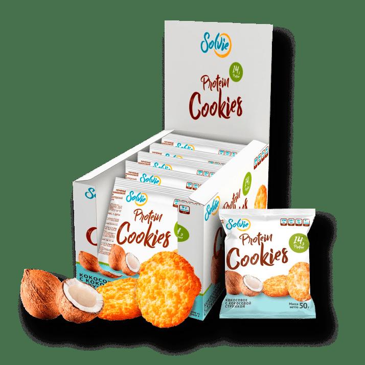 Протеиновое печенье кокосовое с кокосовой стружкой