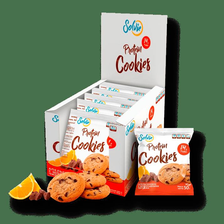 Протеиновое печенье апельсиновое с шоколадными чипсами