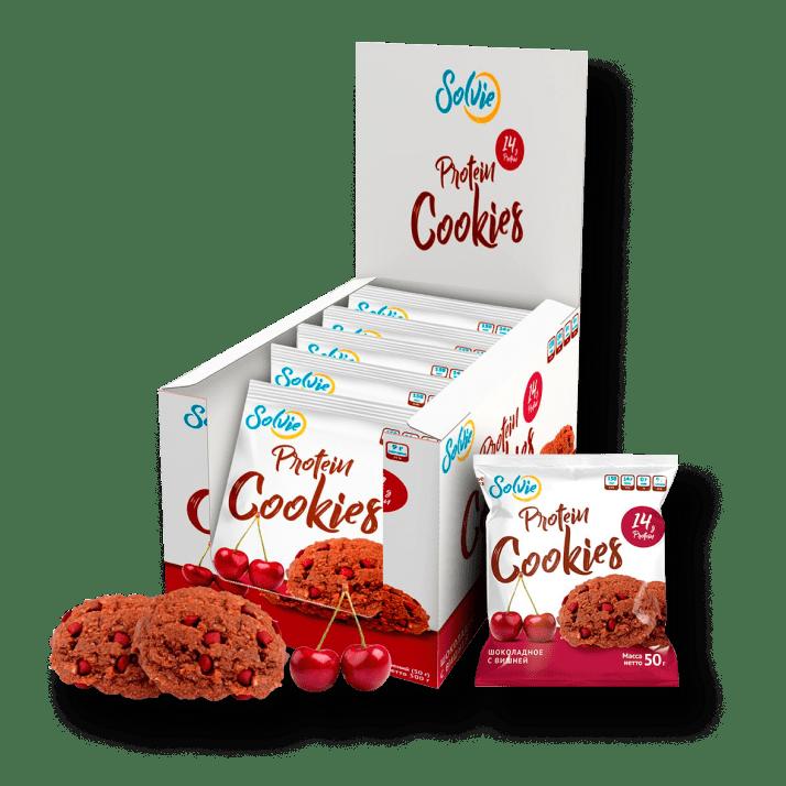 Протеиновое печенье шоколадное с вишней