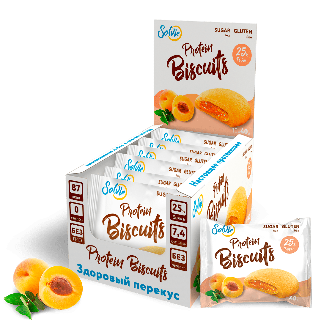 """Печенье """"Protein Biscuits"""" протеиновое с низкокалорийной плодово-ягодной начинкой """"Абрикос"""", без сахара/ продукт готовый кондитерский , 40г*10шт"""