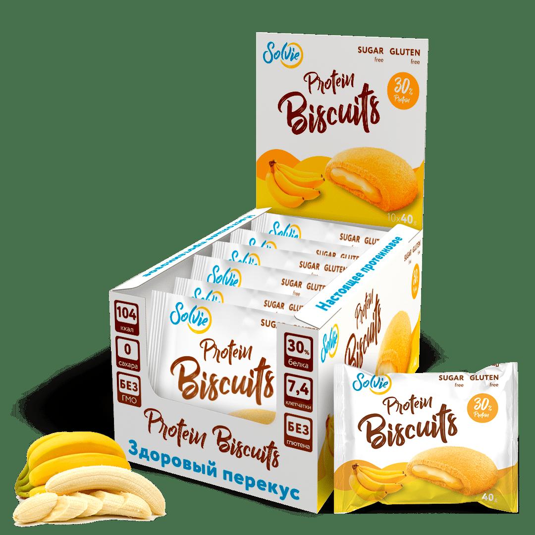 """Печенье """"Protein Biscuits"""" протеиновое с белково-кремовой начинкой """"Банан"""", без сахара/ продукт готовый кондитерский , 40г*10шт"""