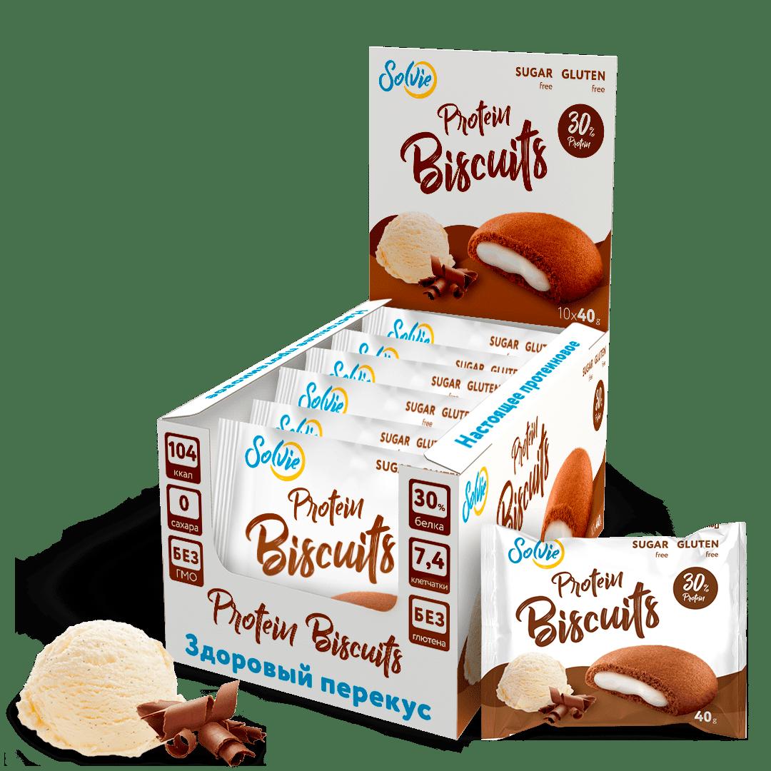 """Печенье """"Protein Biscuits"""" протеиновое шоколадное с белково-кремовой начинкой """"Пломбир"""" , без сахара/ продукт готовый кондитерский , 40г*10шт"""