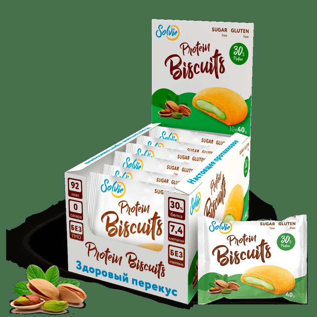 """Печенье """"Protein Biscuits"""" протеиновое с белково-кремовой начинкой """"Фисташка"""" , без сахара/ продукт готовый кондитерский , 40г*10шт"""