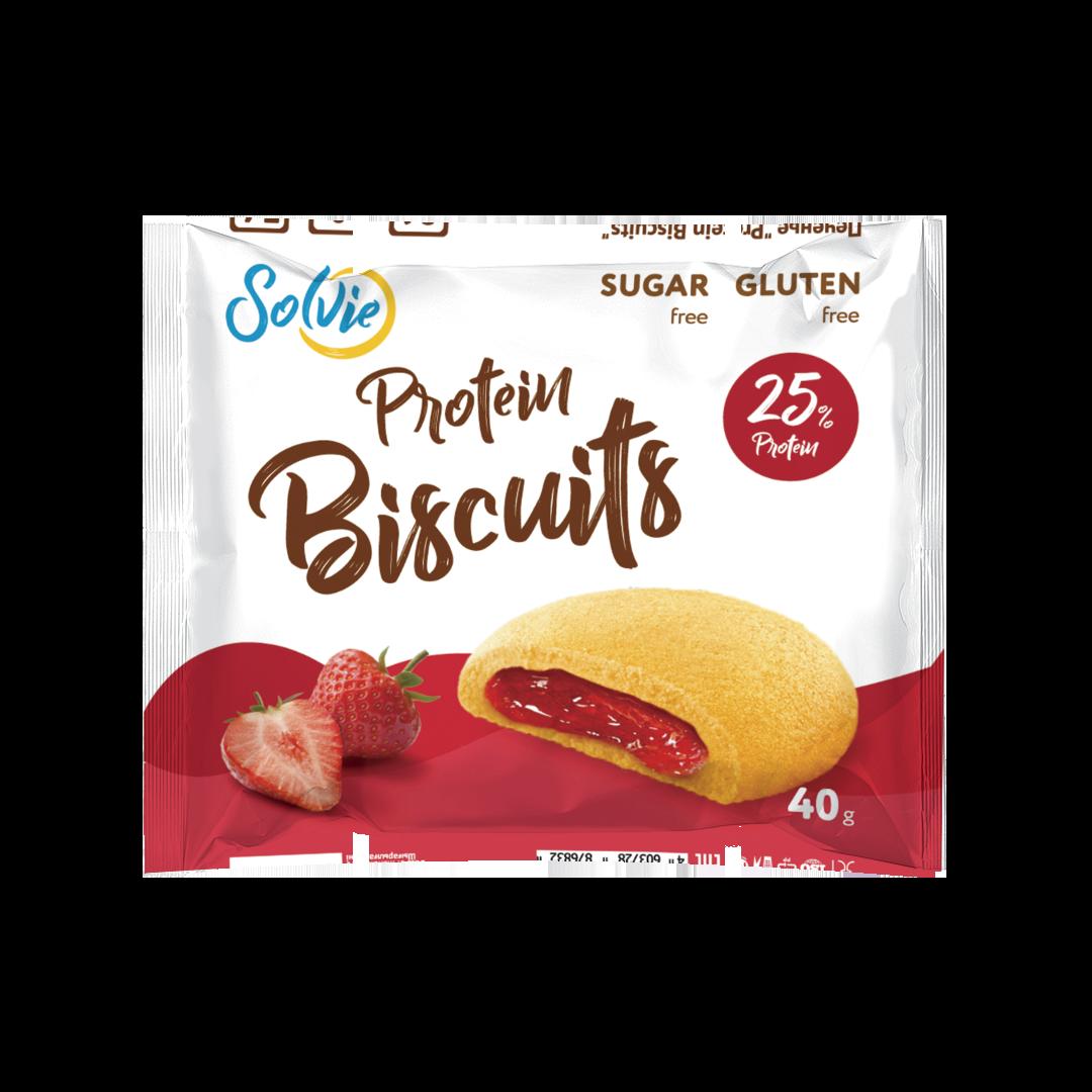 """Печенье """"Protein Biscuits"""" протеиновое с низкокалорийной ягодной начинкой """"Клубника"""" , без сахара/ продукт готовый кондитерский , 40г*10шт"""