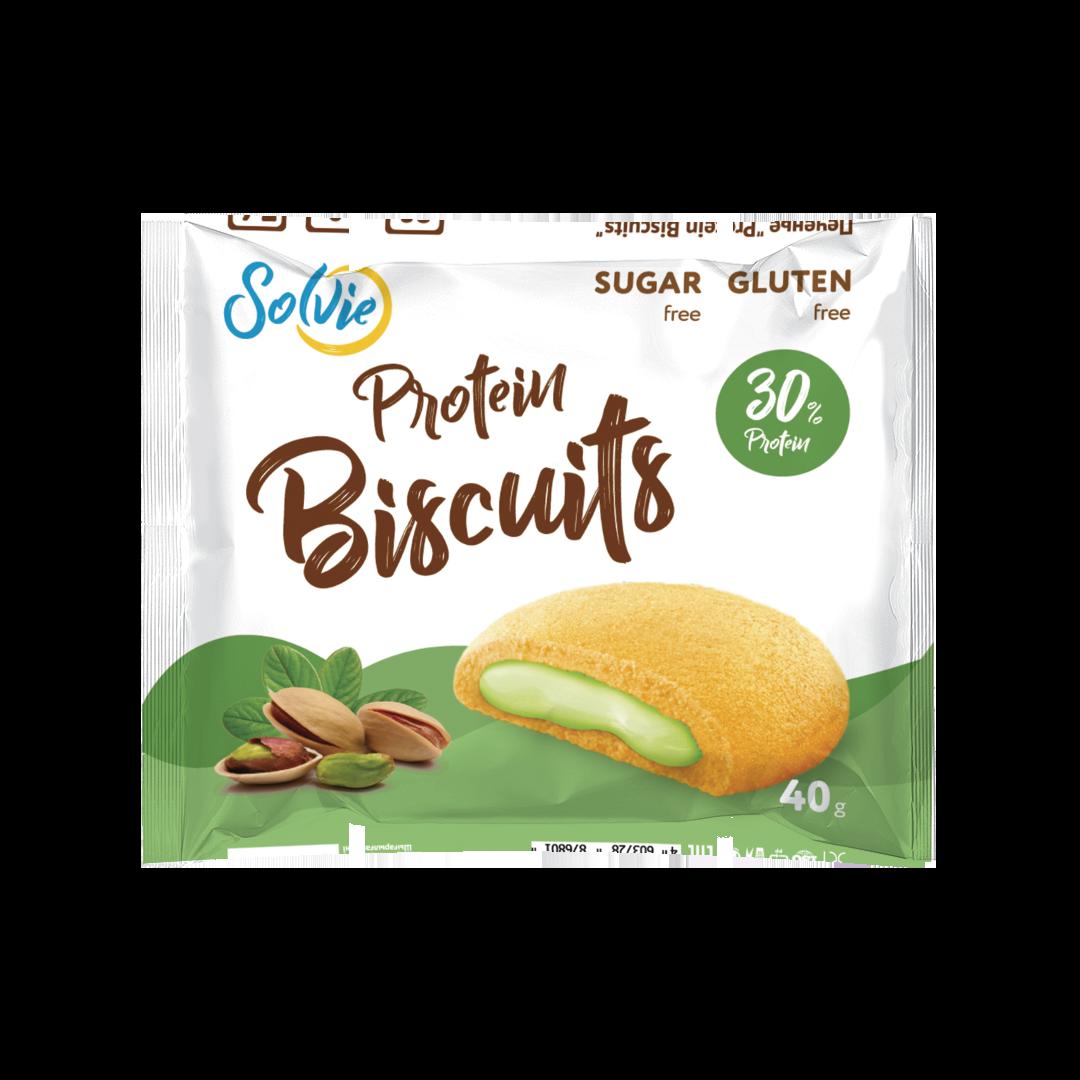 """Протеиновое печенье с белково-кремовой начинкой """"Фисташка"""""""
