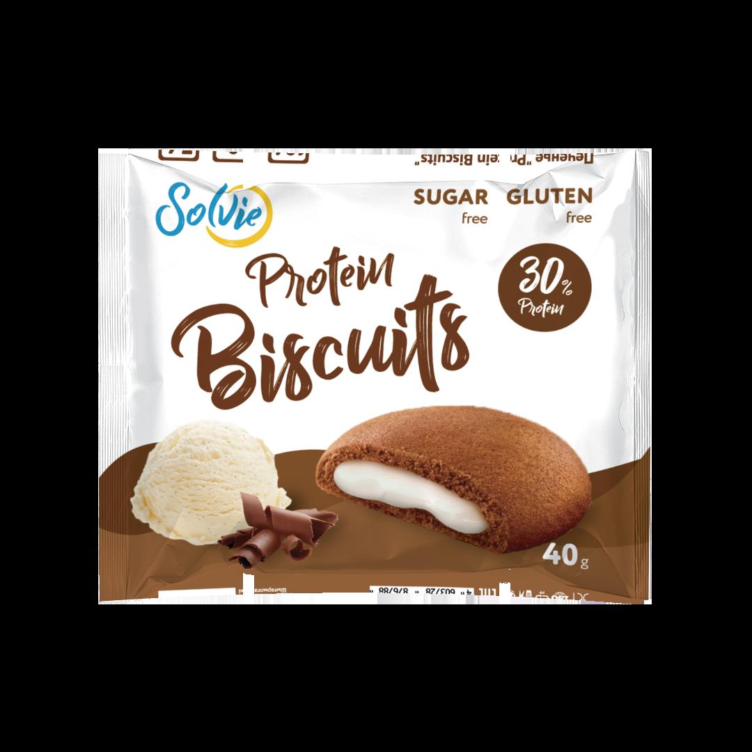 """Протеиновое печенье шоколадное с белково-кремовой начинкой """"Пломбир"""""""