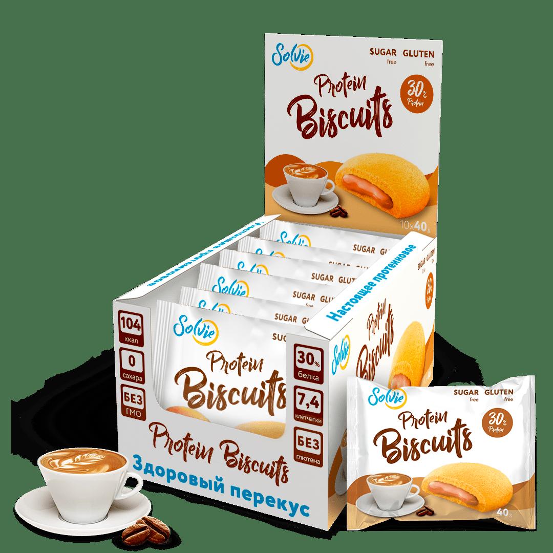 """Печенье """"Protein Biscuits"""" протеиновое с белково-кремовой начинкой """"Капучино"""", без сахара/ продукт готовый кондитерский , 40г*10шт"""