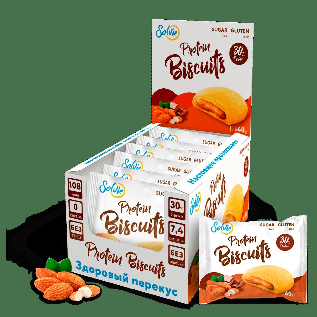 """Печенье """"Protein Biscuits"""" протеиновое с белково-кремовой начинкой """"Шоколадно-миндальный"""", без сахара/ продукт готовый кондитерский , 40г*10шт"""