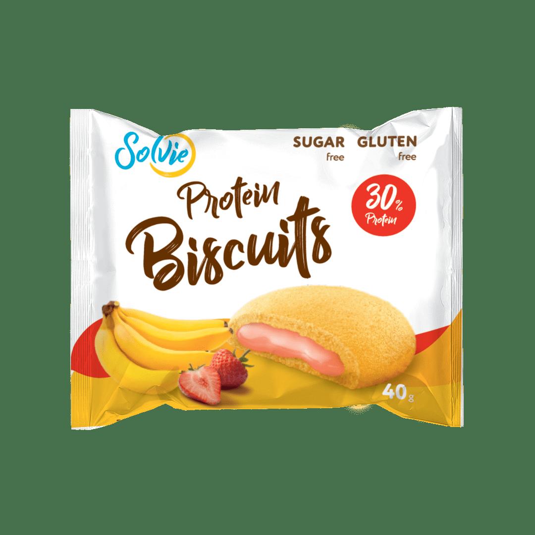 """Печенье """"Protein Biscuits"""" протеиновое с белково-кремовой начинкой """"Банан-клубника"""", без сахара/ продукт готовый кондитерский , 40г*10шт"""