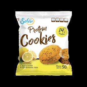 """Печенье """"Protein cookies"""" протеиновое лимонное с цукатами и семенами чиа, без сахара / продукт готовый кондитерский 50г*10 шт"""