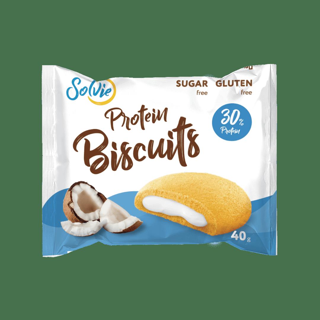 """Печенье """"Protein Biscuits"""" протеиновое кокосовое с белково-кремовой начинкой """"Кокос"""" , без сахара/ продукт готовый кондитерский, 40г*10шт"""