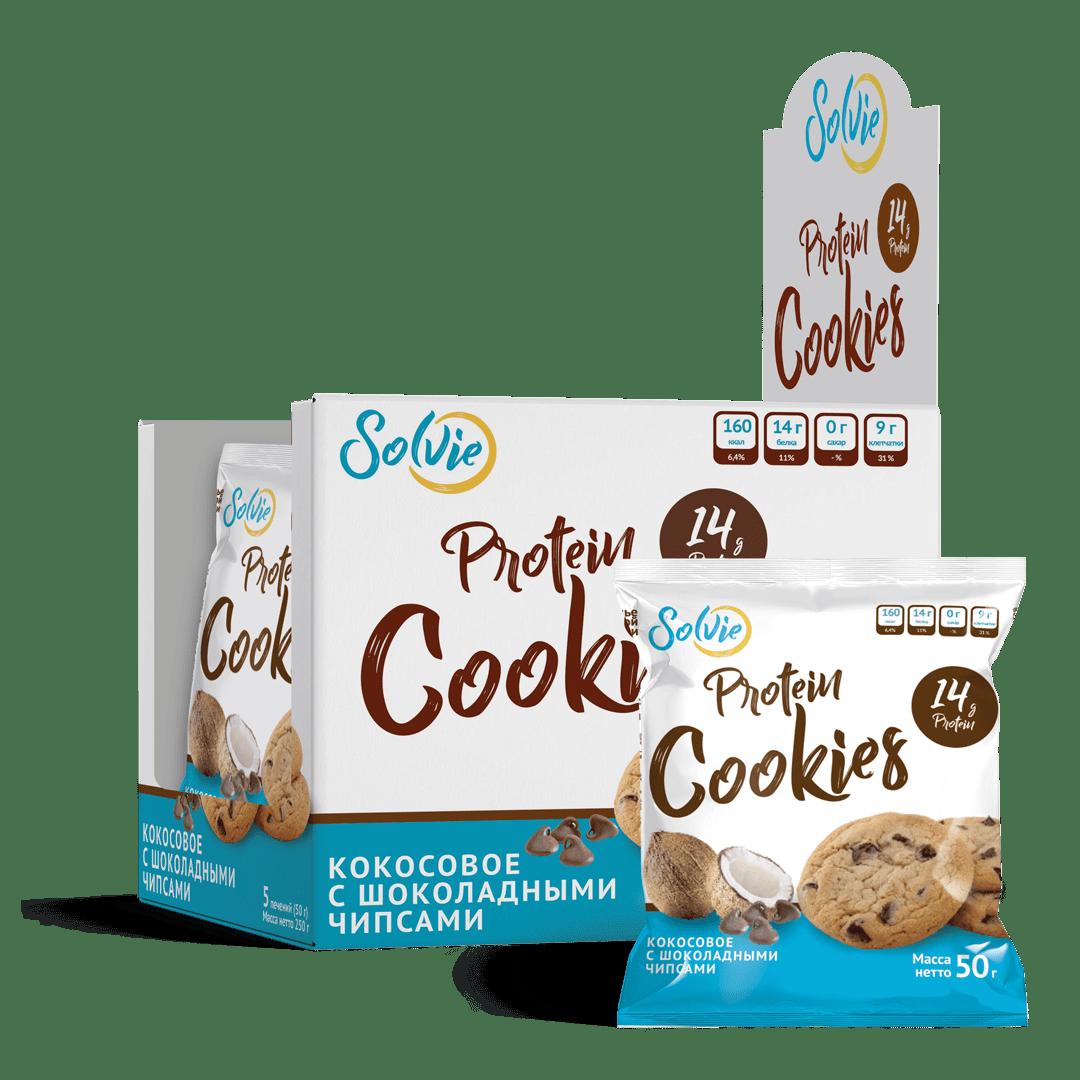 """Печенье """"Protein cookies"""" протеиновое кокосовое с шоколадными чипсами без сахара / продукт готовый кондитерский 5 шт"""