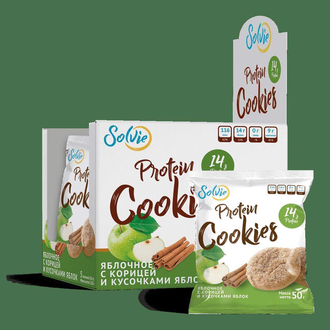 """Печенье """"Protein cookies""""  протеиновое яблочное с корицей и кусочками яблок без сахара / продукт готовый кондитерский 5 шт"""