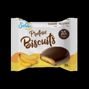 """Печенье """"Protein Biscuits"""" протеиновое, глазированное молочным шоколадом, с белково-кремовой начинкой """"Банан"""", без сахара/ продукт готовый кондитерский , 55г*8шт"""