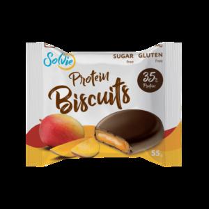 """Печенье """"Protein Biscuits"""" протеиновое, глазированное молочным шоколадом, с белково-кремовой начинкой """"Манго"""", без сахара/ продукт готовый кондитерский , 55г*8шт"""